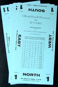 Bridge Howell Movement Cards 22 Pairs  11 Tables Blue Canadian Bridge Supplies