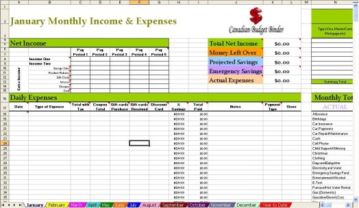 Canadian Budget Binder Spreadsheet Screen shot