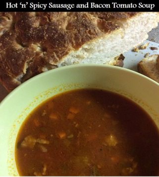 hot n spicy bacon and sausage tomato soup