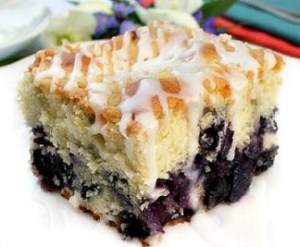 blueberry cake with lemon glaze