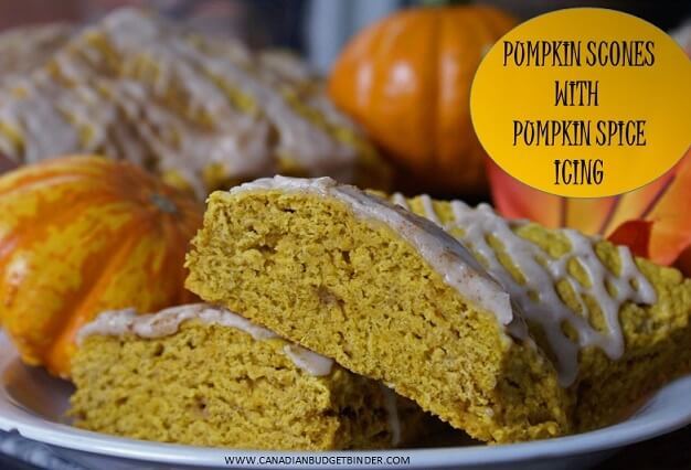 pumpkin scones with pumpkin spice icing cover