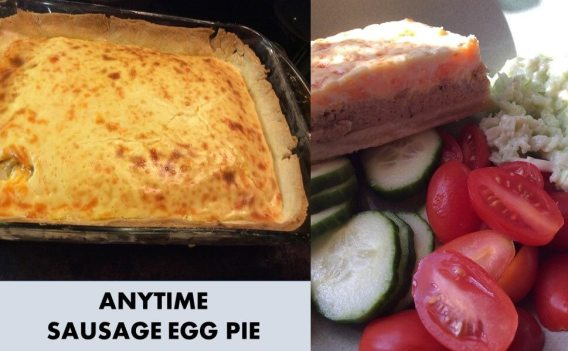 anytime sausage egg pie with salad