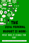 THE 2016 Federal Budget