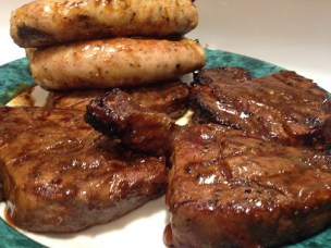 beef tenderloin steaks homemade sausages and salmon