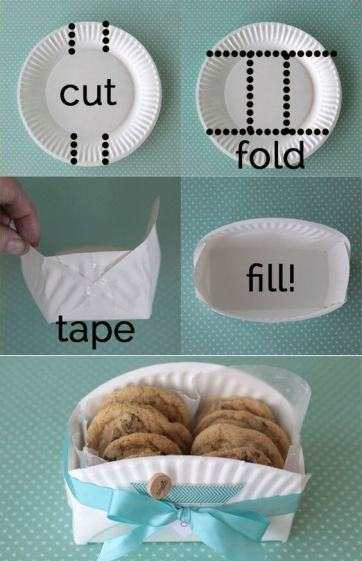 diy cookie basket made from paper plate