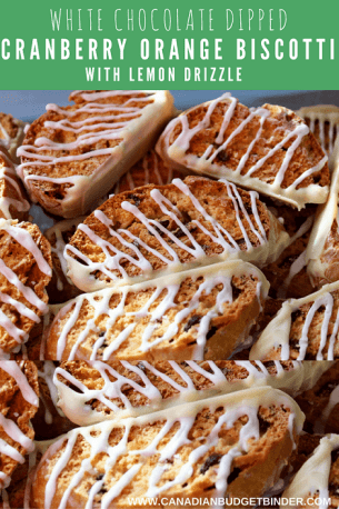 CRANBERRY ORANGE BISCOTTI WHITE CHOCOLATE DIPPED WITH LEMON DRIZZLE