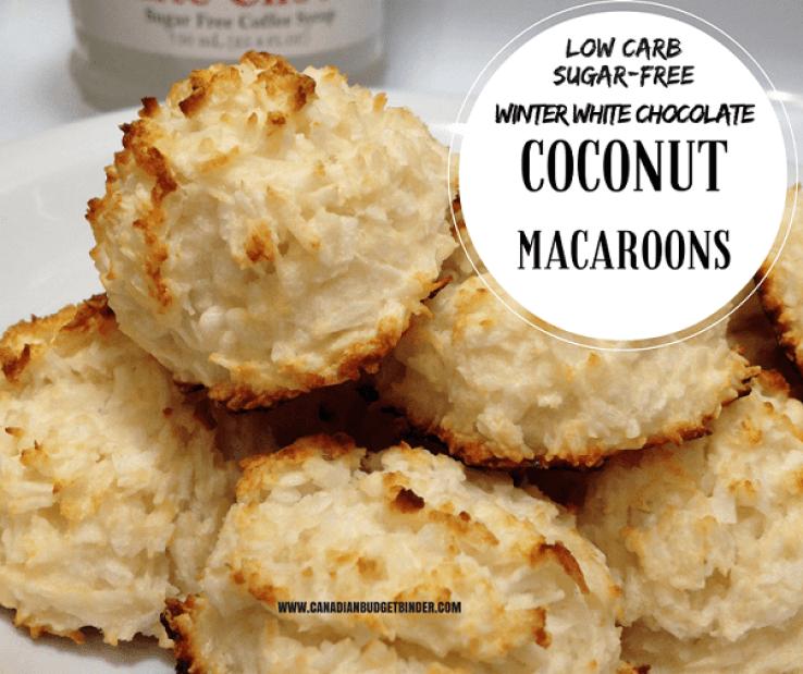 keto WINTER WHITE CHOCOLATE COCONUT MACAROONS LOW CARB SUGAR FREE FB