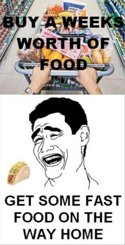 fast food temptation after grocery shopping