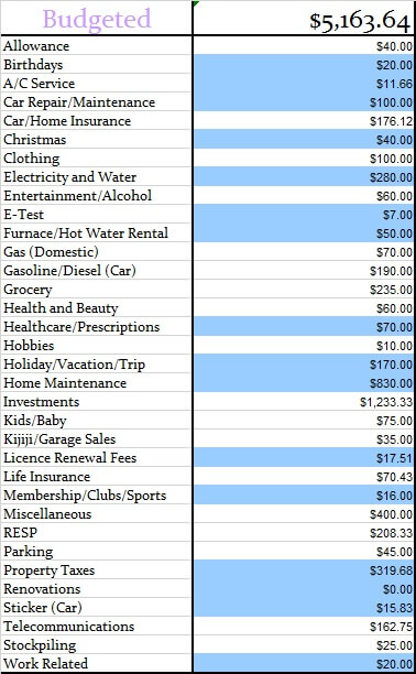 January 2017 Monthly Budgeted Amounts