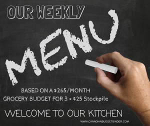 Our Weekly Menu Plan Based On A Monthly $265 Budget: The Grocery Game Challenge 2017 #1 Feb 27-March 5