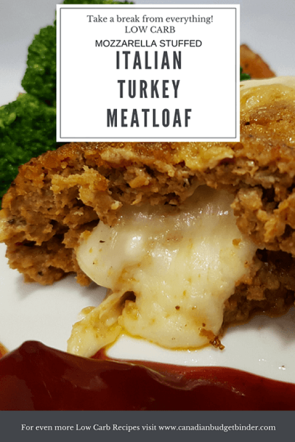Low Carb MOZZARELLA STUFFED ITALIAN TURKEY MEATLOAF P3