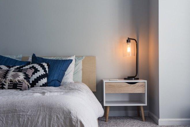 minimalist student dorm room