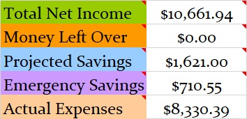 July 2018 Month Income and Expenses
