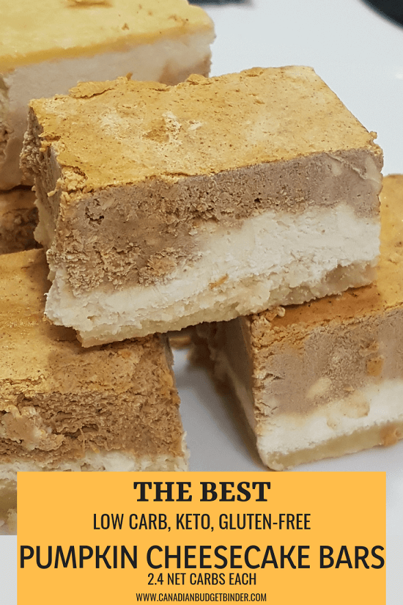 THE BEST Low-Carb Pumpkin Cheesecake Bars (Almond Flour Crust) Sugar-Free