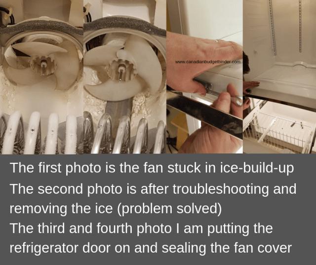 removing ice buildup around the refrigerator freezer fan
