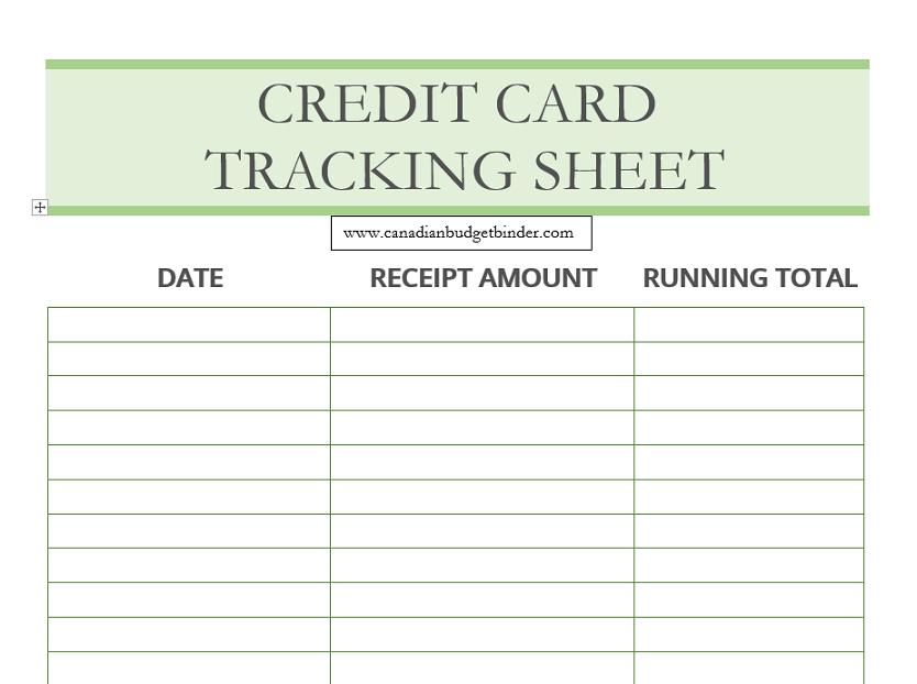 credit card tracking printable