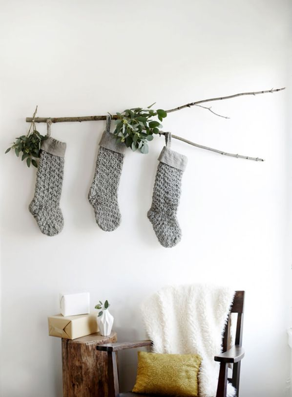 DIY Branch Stocking Display For Christmas