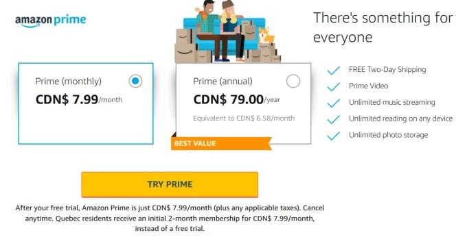 Amazon Prime Canada Costs