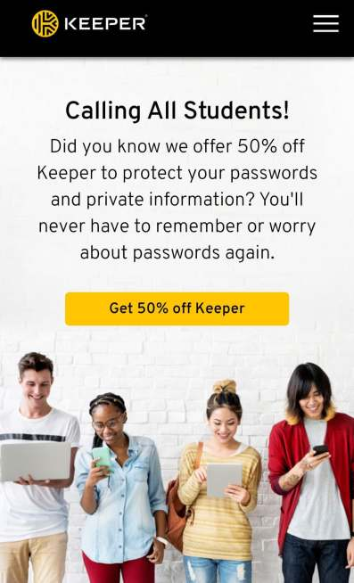Keeper student 50% discount
