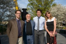 Prime Minister Justin Trudeau with the design team: (l to r) Duncan Patterson, John Greer and Vanessa Paschakarnis