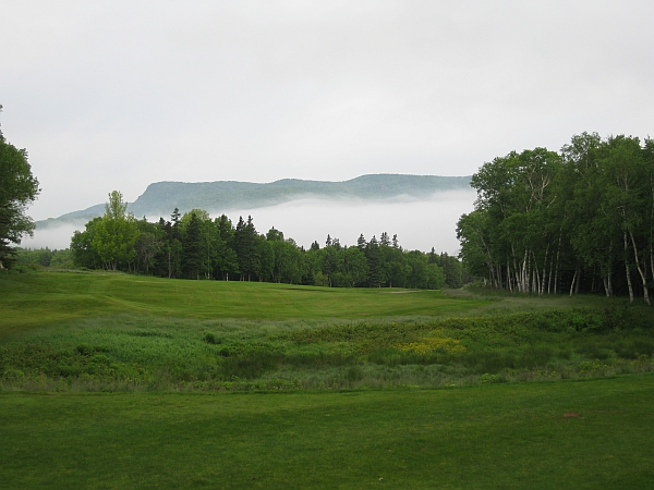 In the mist: the iconic second hole at Highlands Links.