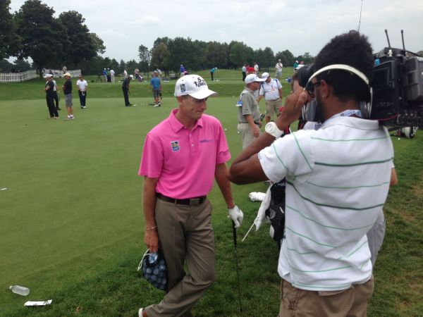 Jim Furyk talks with the Global crew yesterday at Glen Abbey.