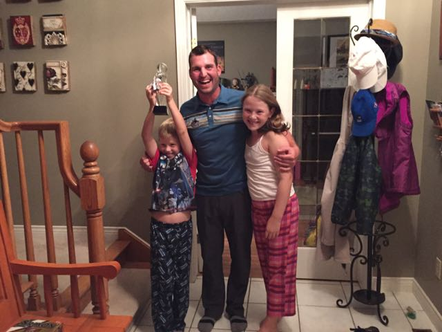 """""""Will Ryan be coming next year?"""" My kids embrace their champion golfer after the final round in London."""