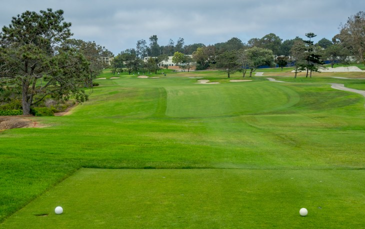 Off the tee on the difficult par-4 14th
