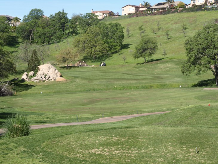 """With the houses up on hillsides, out of the way, the tough Par 4 6th hole, """"Donner Pass"""""""