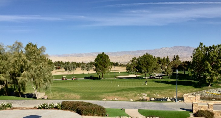 Looking over the practice putting green from the clubhouse balcony