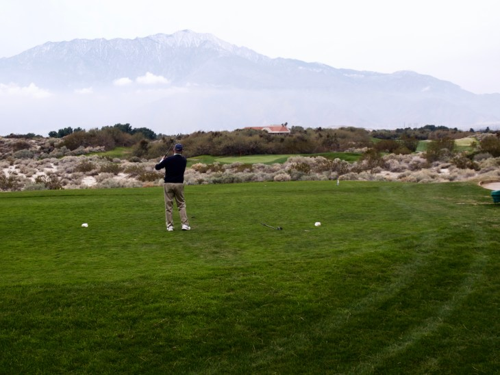 Par 3 5th hole requiring clearing some of the local fauna
