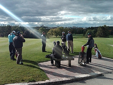 Warriors: The good guys and the bad guys gather at the first hole at Cutten Club as part of the Andrew Golf challenge