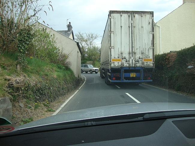 Running interference -- a truck leads the way to Aberdovey.