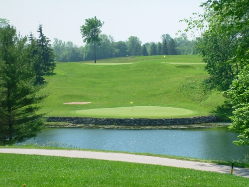 The ninth hole -- a short par 3 over water.
