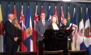 Senator Joseph Abruzzo, Victoria McCullough, Alex Atamanenko, CHDC Executive Director Sinikka Crosland at the podium, and Dr. Ray Kellosalmi