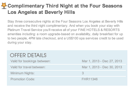 AMEX FHR Free Night Offer