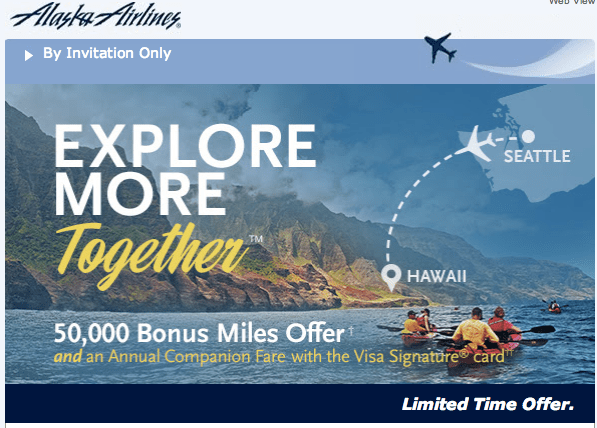 Alaska Airlines 50000 Miles Signup Offer