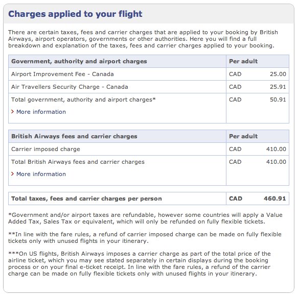 BA Avios Online Award Search Fees Breakdown