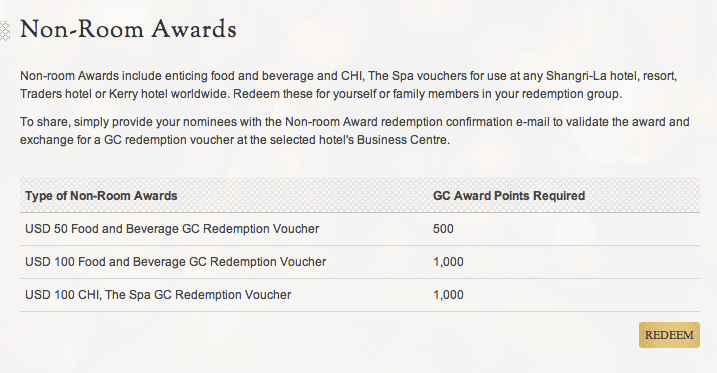 shangrila voucher points required
