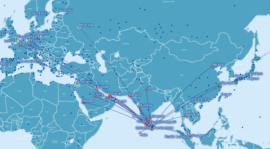 SriLankan Airlines Avios Redemptions Route Network