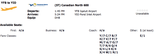 One seat between Iqaluit and Pond Inlet available for Canadian North Aeroplan Redemption