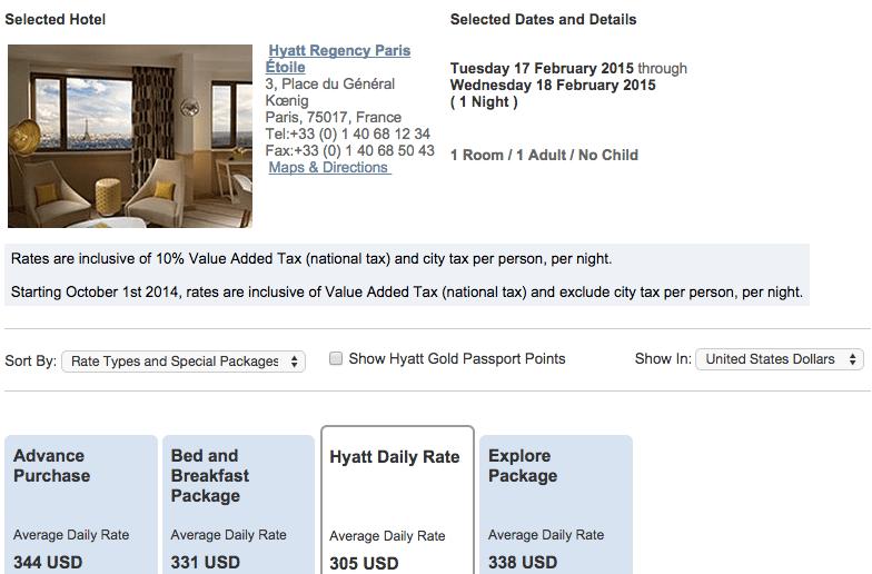 Hyatt.com Rate for Hyatt Regency Paris Etoile