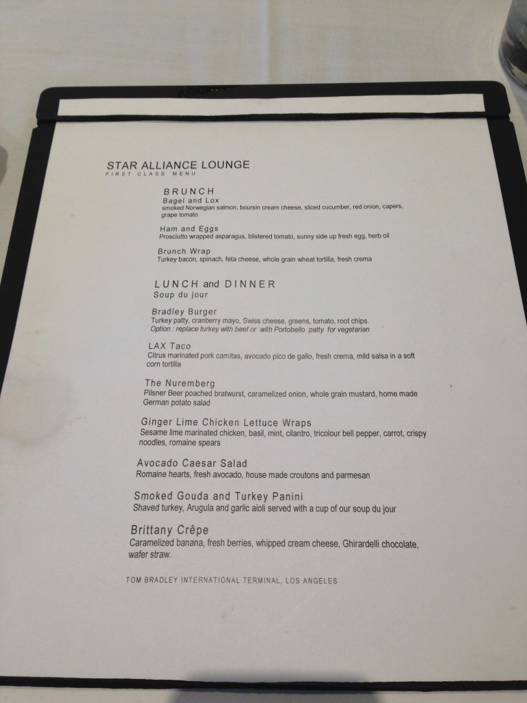 LAX Star Alliance Lounge First Class Menu