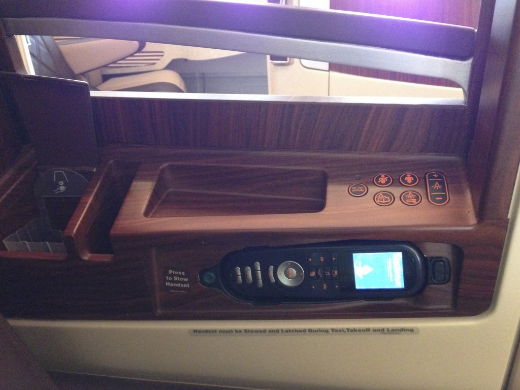 Singapore Airlines A380 Suites IFE control and pockets