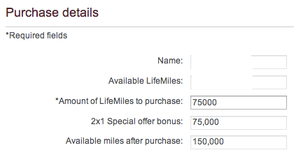 Lifemiles Bonus Purchase Form