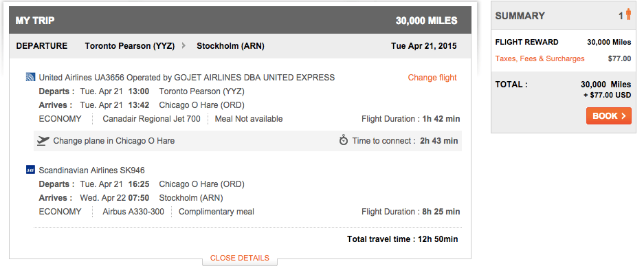Toronto to Stockholm, $77.