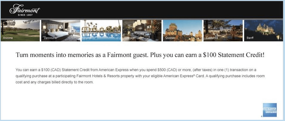 American Express Fairmont Statement Credit Offer