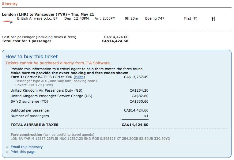 LHR-YVR Paid Ticket