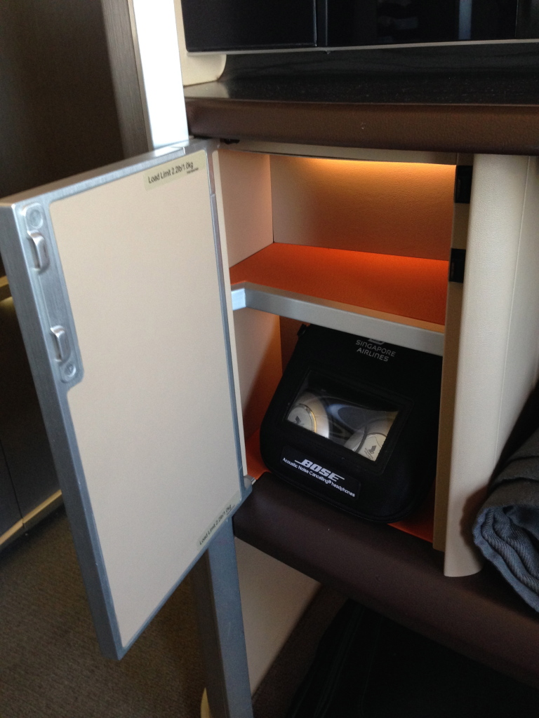 Singapore Airlines First Class Storage Area