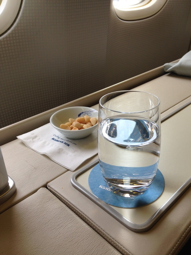 Korean Air First Class Review Water and Macademia Nuts